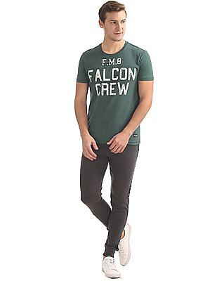 Flying Machine Printed Front Round Neck T-Shirt