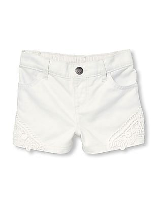 The Children's Place Toddler Girl Crochet Trim Denim Shorts