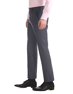 Arrow Newyork Blue Tapered Fit Patterned Trousers