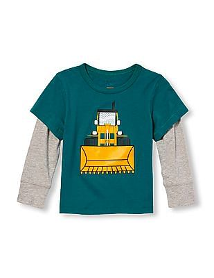 The Children's Place Toddler Boy Long Sleeve Embellished Graphic Faux-Layered Top