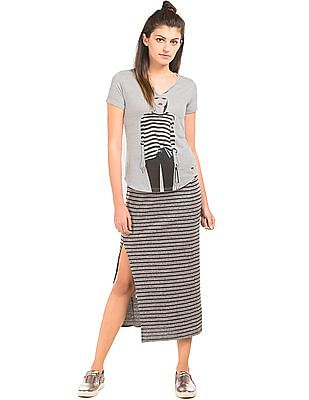 Elle Printed Notched Neck Top