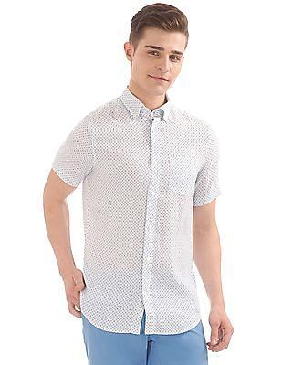Gant Linen Rhombus Print Slim Short Sleeve Button Down Shirt