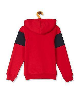 FM Boys Red Boys Printed Panel Hooded Sweatshirt