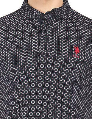 U.S. Polo Assn. Dot Print Slim Fit Polo Shirt