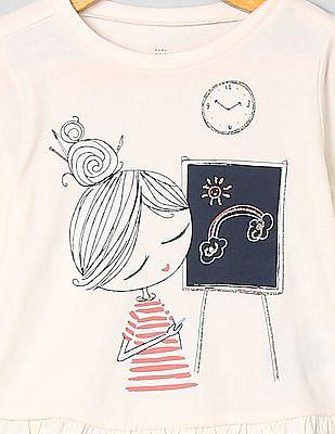GAP Baby Ruffle Graphic Long Sleeve T-Shirt