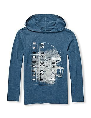 The Children's Place Boys Long Sleeve Graphic Hooded Sweatshirt