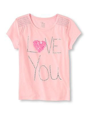 The Children's Place Girls Short Sleeve Embellished Top