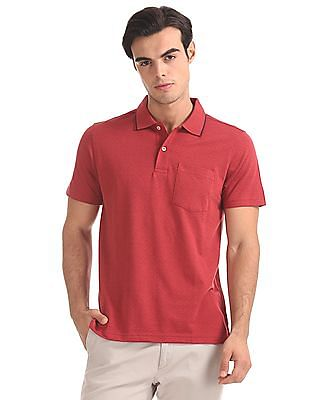 Roots by Ruggers Regular Fit Patterned Knit Polo Shirt