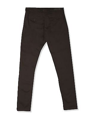 Roots by Ruggers Brown Solid Cotton Stretch Trousers