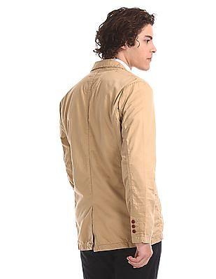 Flying Machine Brown Notch Lapel Collar Regular Fit Jacket