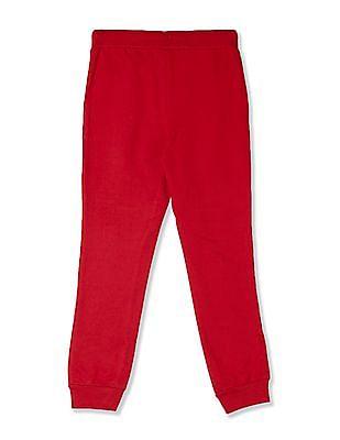 U.S. Polo Assn. Kids Red Girls Brand Print Knit Joggers