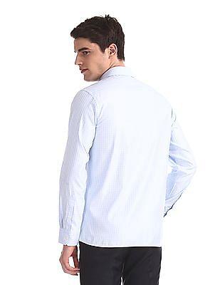 Arrow Blue French Placket Check Shirt