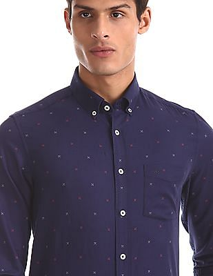Arrow Sports Blue Button Down Collar Printed Shirt