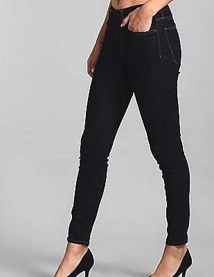 GAP Women Blue Skinny Fit Mid Rise Rinsed Jeans