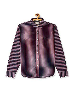 Flying Machine Blue Spread Collar Vertical Stripe Shirt
