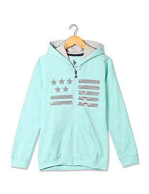 U.S. Polo Assn. Kids Girls Sequin Embellished Hooded Sweatshirt