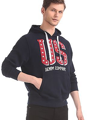 U.S. Polo Assn. Blue Front Print Hooded Sweatshirt