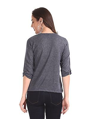 Cherokee Blue Three Quarter Sleeve Glitter Accent Top