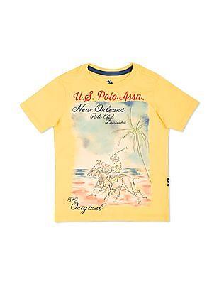 U.S. Polo Assn. Kids Boys Printed Regular Fit T-Shirt