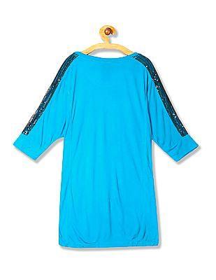 Flying Machine Women Dolman Sleeve Embellished Top
