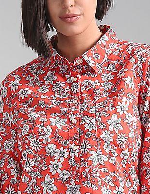 GAP Women Orange Floral Print Popover Shirt