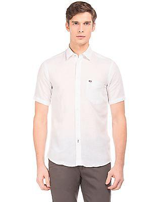 Arrow Sports Short Sleeve Cotton Linen Shirt