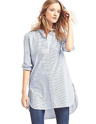 GAP Striped Poplin Long Shirt
