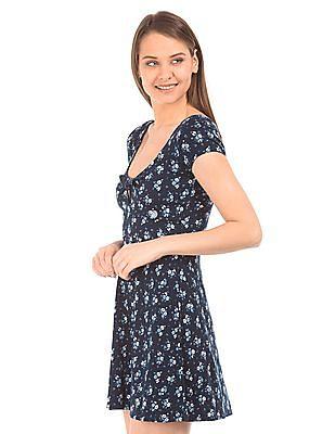 Aeropostale Printed V-Neck Skater Dress