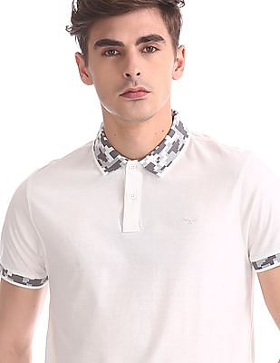 Flying Machine Slim Fit Patterned Collar Polo Shirt