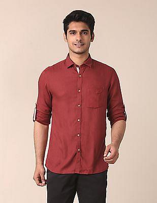 True Blue Slim Fit Modal Linen Shirt