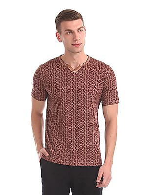 Cherokee Notched Round Neck Printed T-Shirt