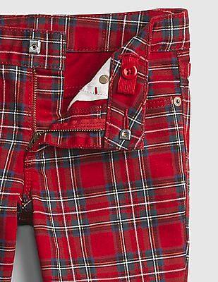 GAP Girls Red Superdenim Plaid Super Skinny Jeans with Fantastiflex