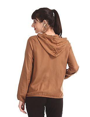 SUGR Brown Elasticized Waist Hooded Jacket