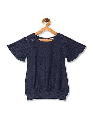 Cherokee Blue Girls Raglan Sleeve Lace Top