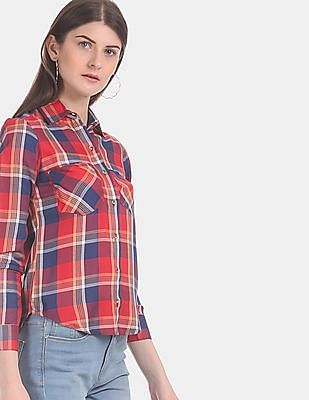 Aeropostale Women Red And Navy Barrel Cuff Check Shirt