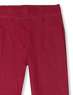 Cherokee Pink Girls Solid Knit Jeggings