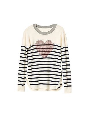 GAP Girls White Embellished Heart Crew Sweater