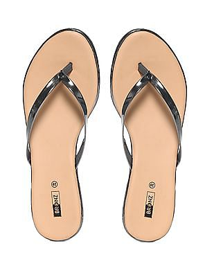 Bronz Beige And Silver Solid V-Strap Sandals