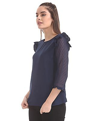 Elle Studio Sheer Sleeve Ruffle Trims Top