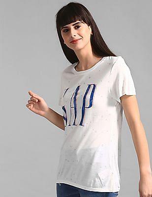 GAP White Allover Glitter Print Logo T-Shirt