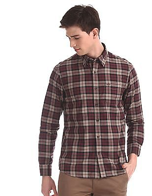 Arrow Sports Red Concealed Button Down Collar Check Shirt