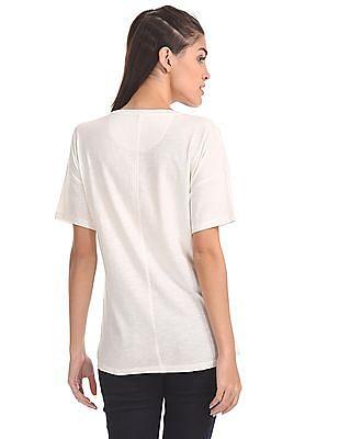 U.S. Polo Assn. Women Drop Shoulder Printed T-Shirt