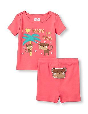 The Children's Place Baby And Toddler Girl Short Sleeve 'I Love Hanging With Daddy' Monkey Graphic Top And Shorts PJ Set