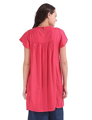 Bronz Embroidered Yoke Flared Sleeve Tunic