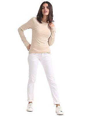 GAP Women Beige Long Sleeve Modal Stripe Boat Neck Top