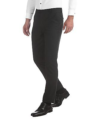 Arrow Newyork Grey Tapered Fit Striped Trousers