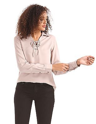 Aeropostale Regular Fit Lace Up Placket Shirt