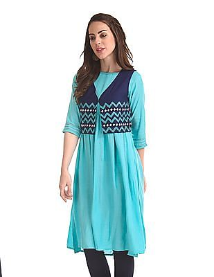 Anahi Flared Kurta With Embroidered Shrug