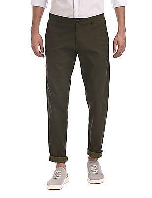 Ruggers Green Modern Slim Fit Printed Trousers