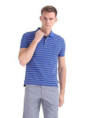 Nautica Short Sleeve Striped Deck Pique Polo